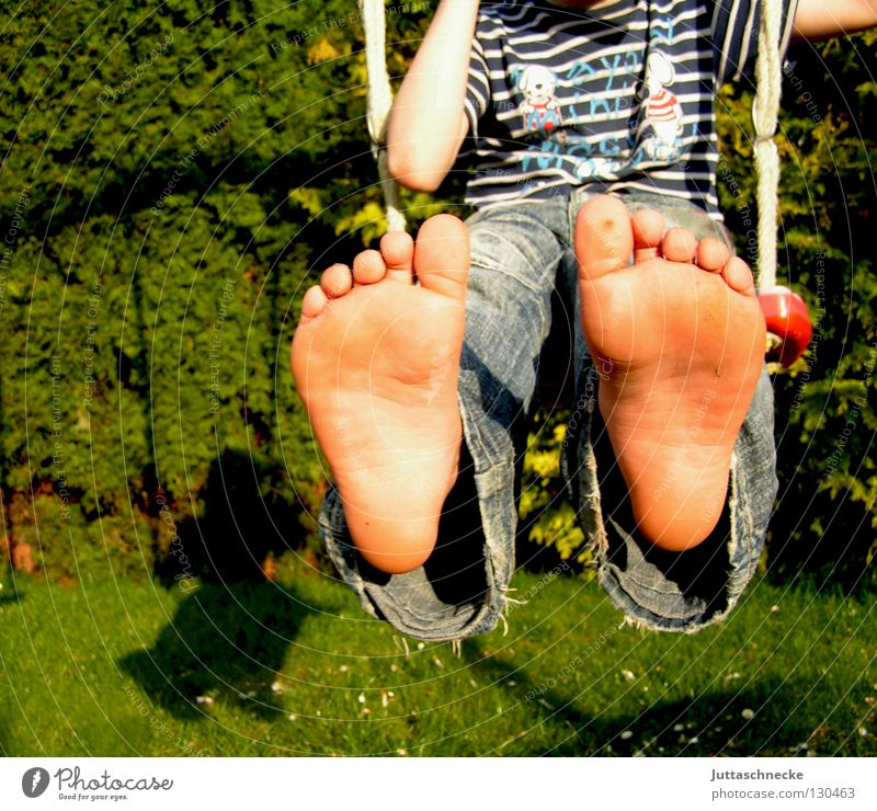 Child Blue Joy Playing Freedom Boy (child) Feet Free Jeans Joie de vivre (Vitality) To enjoy Swing Toes Footwear Shoe sole Sole of the foot