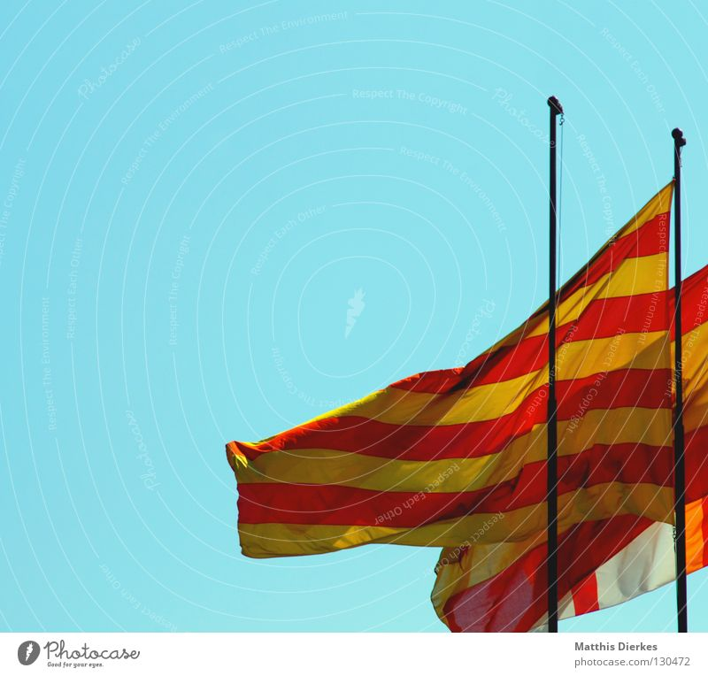 flags Flag Flagpole Green Red Yellow Striped Across Vertical Wind Symbols and metaphors Barcelona Spain Patriotism Home country Catalonia Beach Presentation