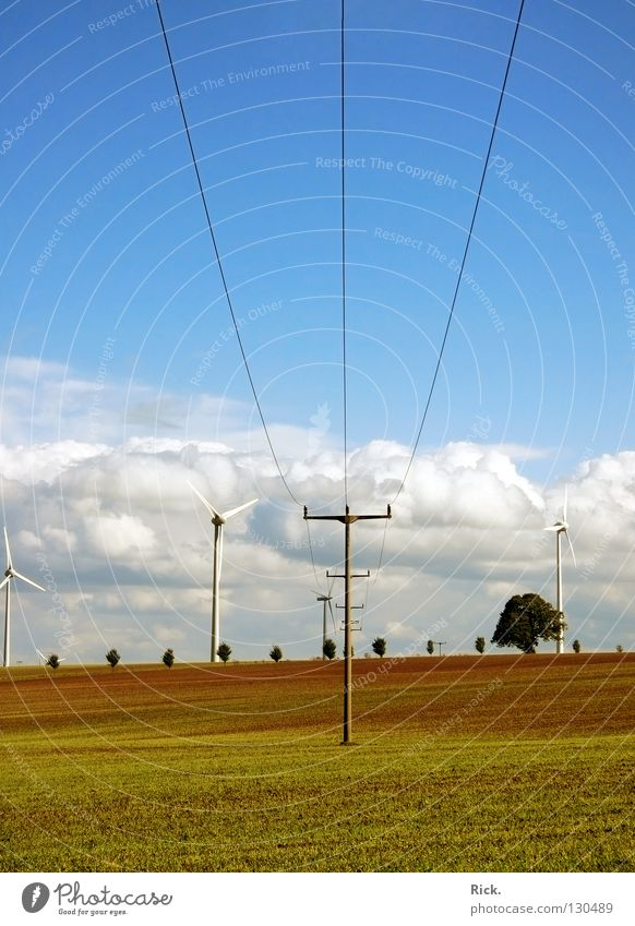 Sky Nature Blue White Green Clouds Colour Meadow Landscape Field Power Energy industry Perspective Electricity Cable Industry
