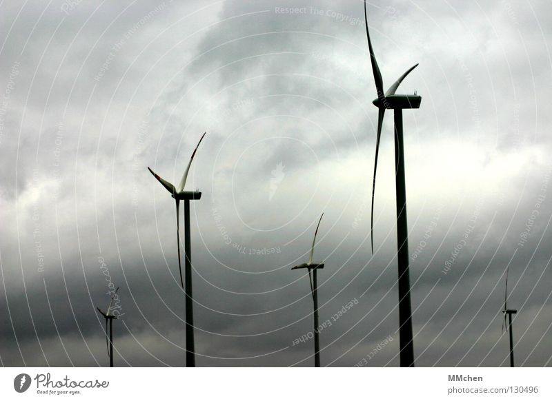 Sky Clouds Gray Air Power Wind Energy industry Electricity Aviation Technology Wind energy plant Rotate Swing Rotation Airy Mill