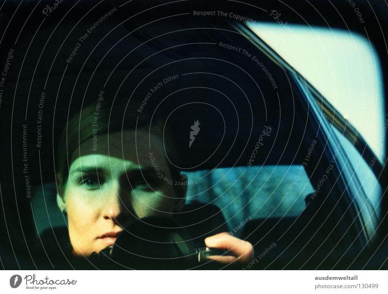 Woman Face Black Colour Feminine Car Photography Mirror Transport Ferocious Provoke