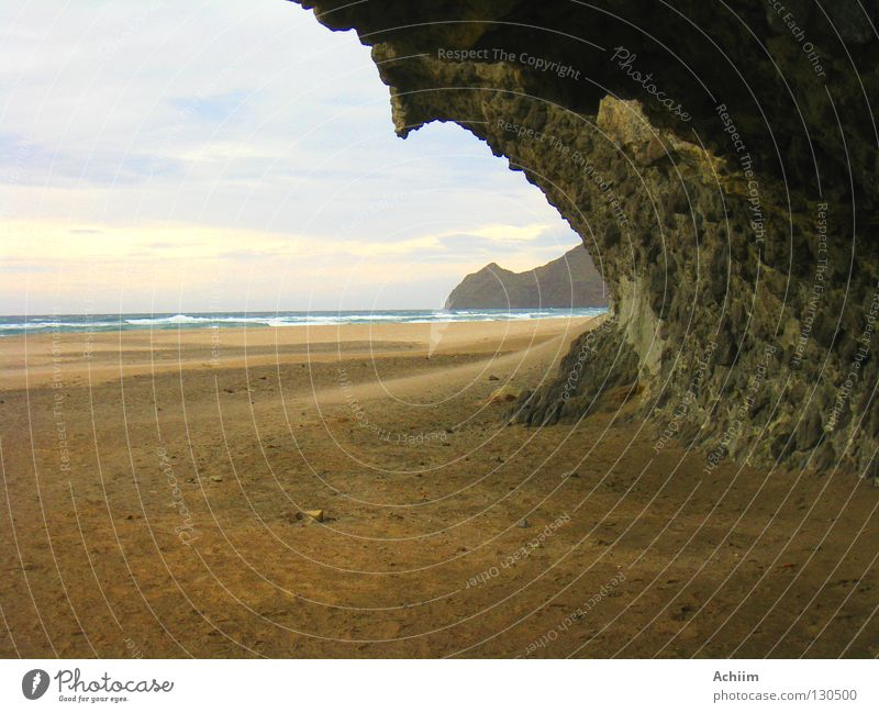 That which remains Andalucia Playa de Monsul San José Idyllic beach Ocean Lava Stony Sandstorm Washed out Bizarre Dramatic Passion Bad weather Clouds Horizon