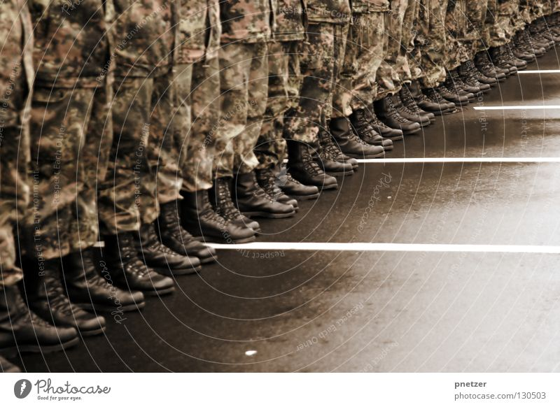 Standing still Uniform Army Boots Leather Black Cleansed Asphalt Camouflage Marionette Public service Man Clothing line up Calm in a row company Patch