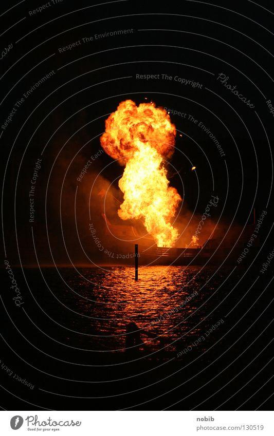 detonation Cinema Water Smoke Dark Black Fear Explosion Panic Blaze fire mushroom Pyrotechnics ship explosion Night Light Reflection
