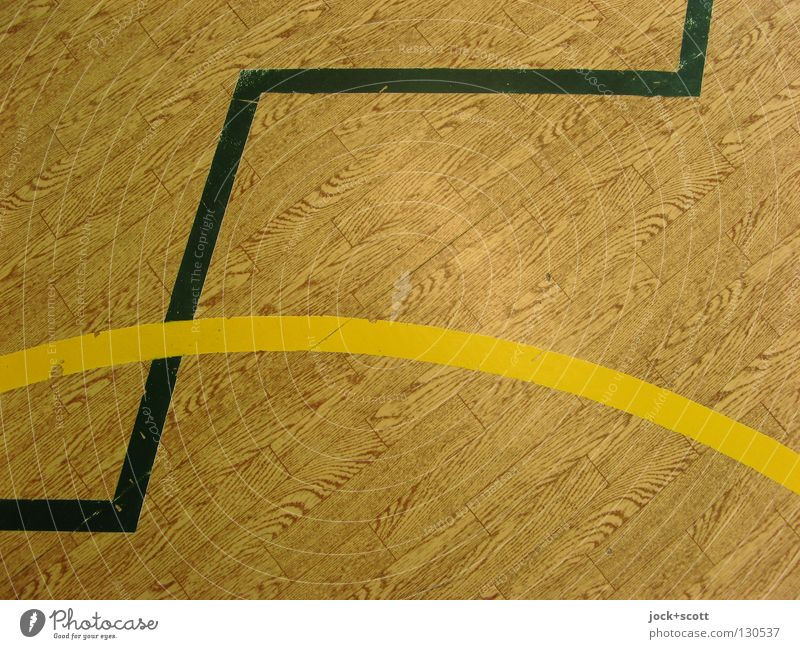 not quite in line! Line Brown Yellow Black Concentrate Arrangement Perspective Discern Cross Norm Geometry Rule Curved Playing field Meeting point Second-hand