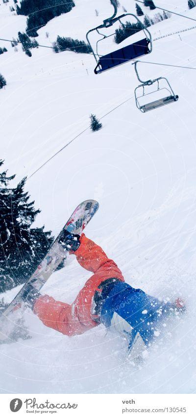 Mountain Snow Orange Dangerous Risk Sudden fall Snapshot Broken Downward Disaster Snowboard Winter sports Adversity Ski run Chair lift Head first