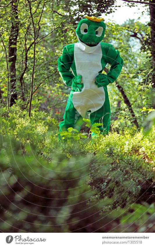 Youth (Young adults) Green Joy Forest Art Esthetic Wait Youth culture Frog Work of art Costume Carnival costume Nature reserve Comical Absurdity Funster