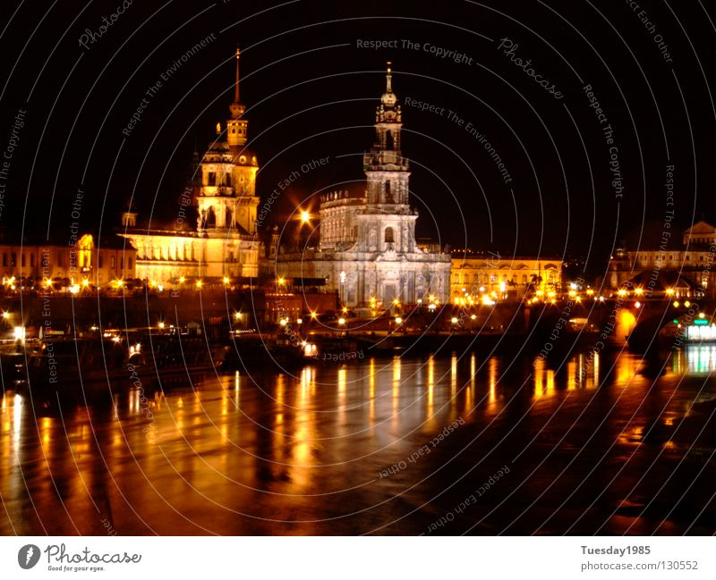 At night (not) Dresden Night Reflection Beautiful Time Historic Elbe Contrast Water Shadow
