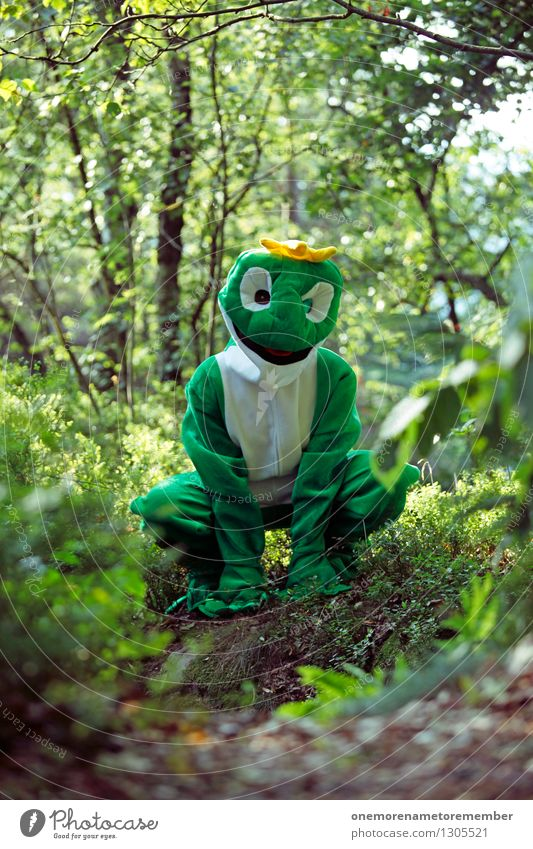 Green thigh Art Work of art Esthetic Frog Worm's-eye view Frog Prince Frog eyes Frog's legs Forest Crouch Crouching Joy Costume Carnival costume Creativity Idea