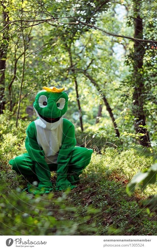 All stuff! Art Work of art Adventure Esthetic Frog Worm's-eye view Frog Prince Frog eyes Crown Green Nature Love of nature Joy Comical Funster