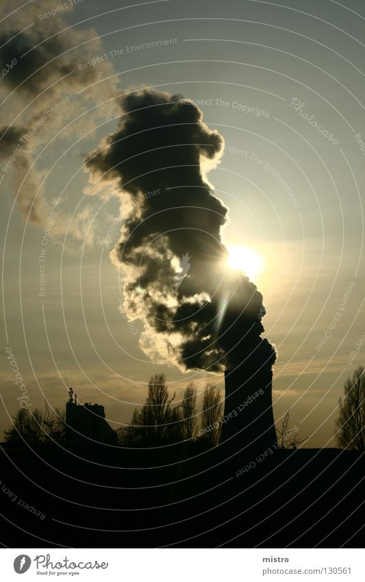 (solar) power plant Coal power station Light Clouds Machinery Concrete Dark Black Industry Sky Sun Energy industry
