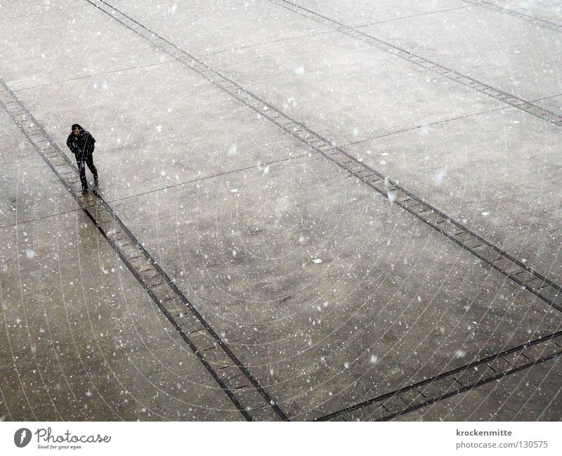 Human being Man White City Winter Black Loneliness Cold Gray Snowfall Line Going Walking Places Direction Freeze