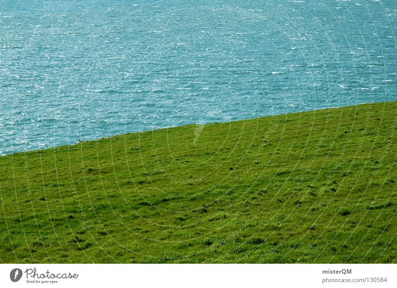 Irish Green. Meadow Juicy Ireland Ocean Waves Strange Dividing line Divide Minimal Minimalistic Simplistic Water Beach Coast Lawn Golf Haircut Partially visible