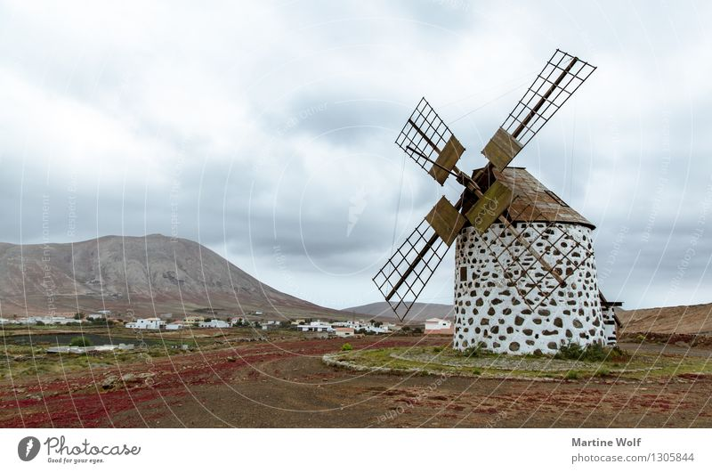 the mill La Oliva Fuerteventura Spain Canaries Europe Windmill Nature Architecture Colour photo Subdued colour Exterior shot Deserted Copy Space left