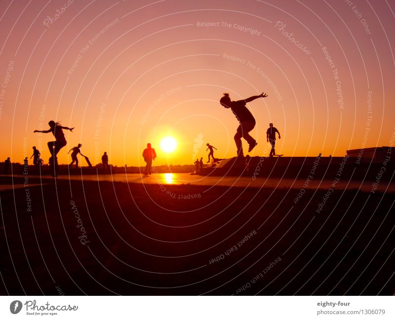 Rolling to the horizon Lifestyle Leisure and hobbies Vacation & Travel Far-off places Freedom Summer Sports Skateboard Young woman Youth (Young adults)