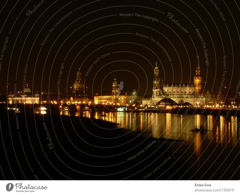 Dresden at night Night shot Long exposure Dark Reflection Dusk Town Water siluette Light Frauenkirche Elbe River