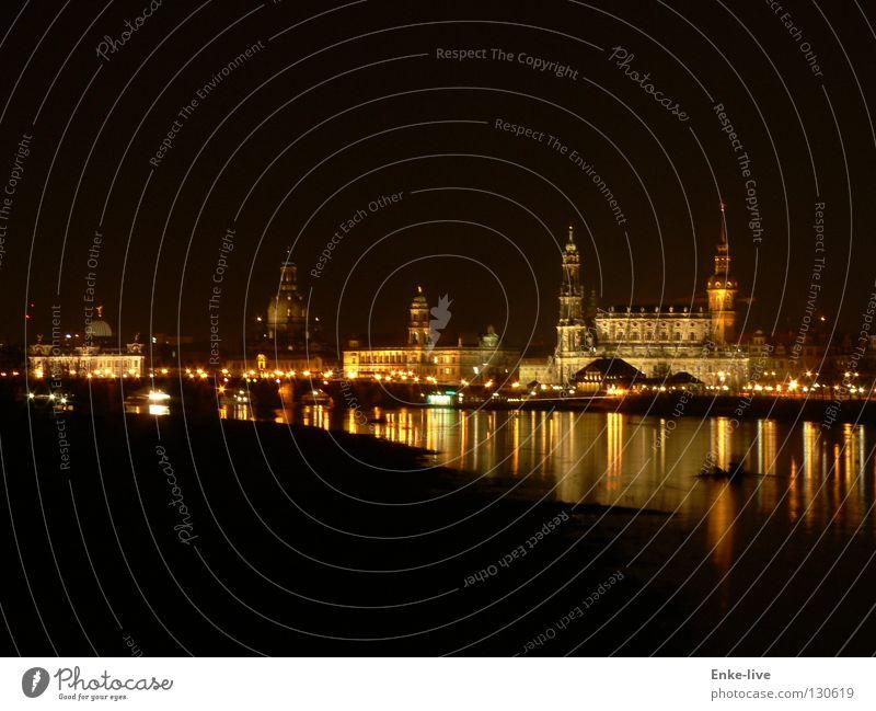 Water City Dark Night River Dresden Dusk Elbe Night shot Frauenkirche