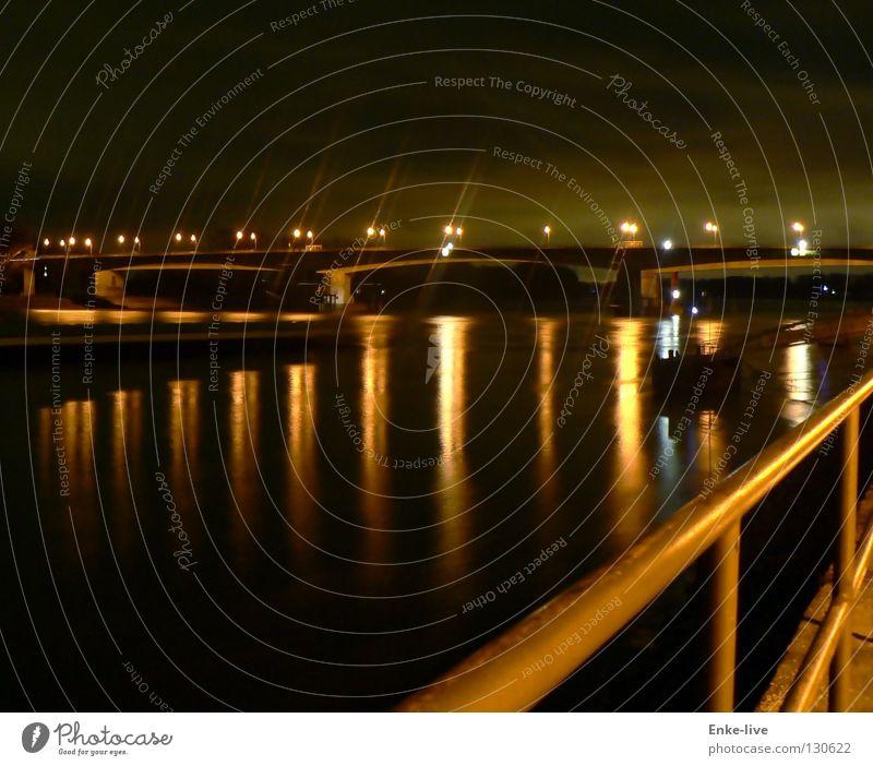 Water Black Dark Lighting Germany Handrail Rhine Night shot Worms Bypass