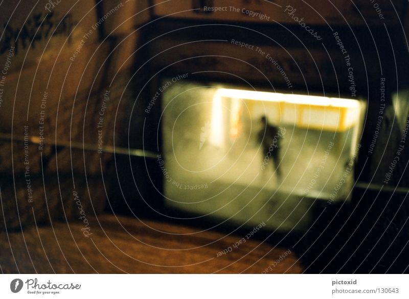 Human being Man City Dark Graffiti Fog Stairs Station Tunnel Underground Frankfurt Late Eerie Commuter trains