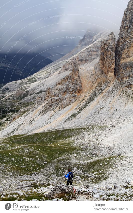 Nature Blue Landscape Clouds Dark Mountain Gray Rock Fog Hiking Italy Adventure Peak Alps South Tyrol Bad weather