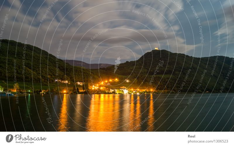 summer night Nature Landscape Elements Water Sky Night sky Moon Summer Forest Hill Alps Lake Kalterer lake South Tyrol Village Small Town Populated Dark Light