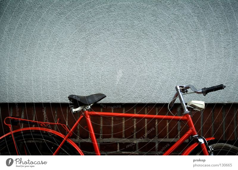 Vacation & Travel Old Red Joy Wall (building) Wall (barrier) Transport Bicycle Wait Cool (slang) Driving Rust Chic Seventies Arrival Bicycle handlebars