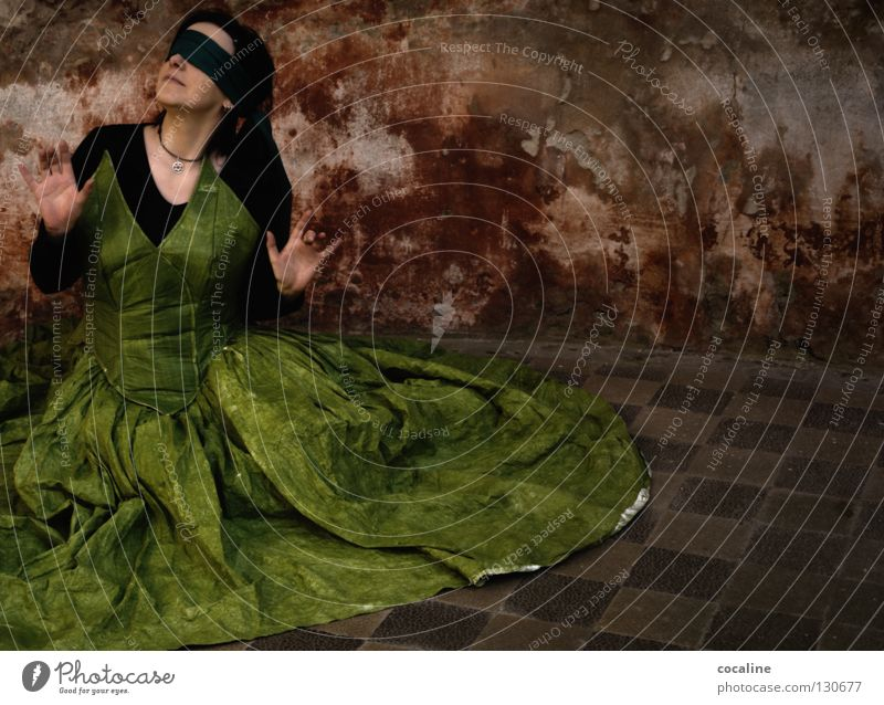 Woman Beautiful Green Red Wall (building) Emotions Freedom Moody Search Sit Floor covering Dress Fantastic Tile Listening Watchfulness
