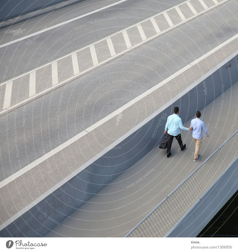 . Masculine 2 Human being Bridge Handrail Transport Traffic infrastructure Passenger traffic Motoring Street Lanes & trails Tar Asphalt Median strip Shirt Pants