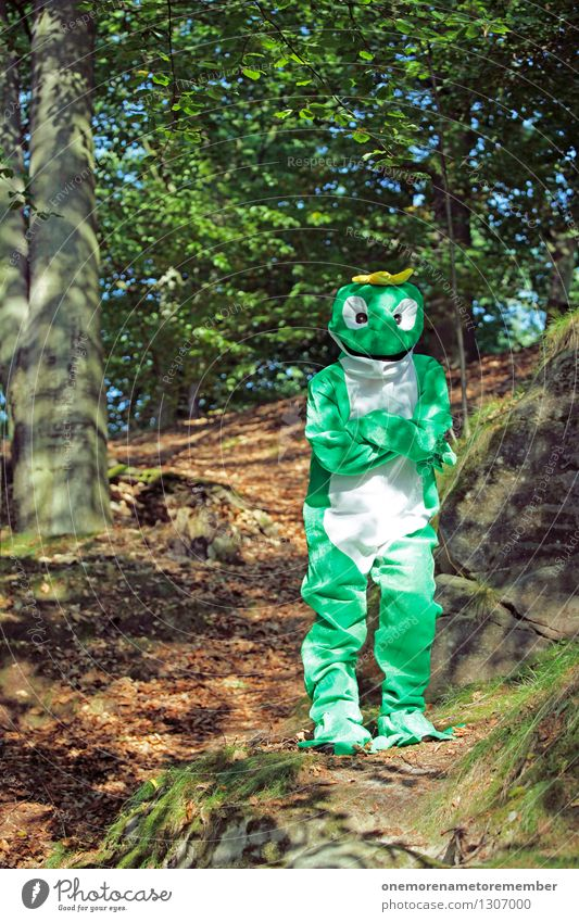 Green Forest Art Esthetic Crazy Wait Adventure Frog Work of art Carnival costume Crown Funster Lost Disguised Frog Prince Camouflage colour