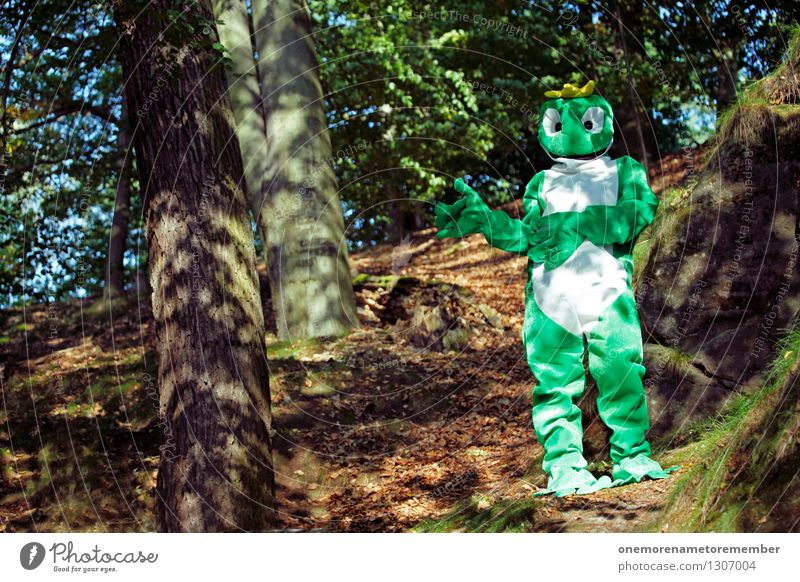 Green Joy Forest Funny Art Esthetic Frog Work of art Carnival costume Camouflage Dress up Comical Funster Clearing Frog Prince Forest plant