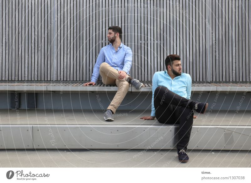 . Masculine 2 Human being Bridge Manmade structures Bench Shirt Pants Brunette Short-haired Beard Observe Think Looking Sit Wait Together Town Optimism