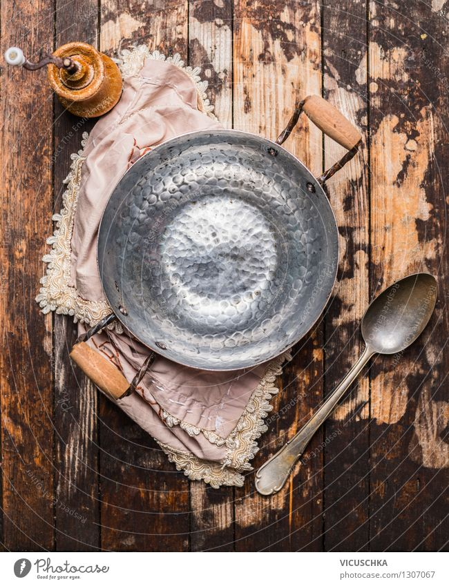 Empty saucepan and spoon - old still life Nutrition Pot Spoon Lifestyle Style Design House (Residential Structure) Table Kitchen Wooden spoon Decoration Vintage