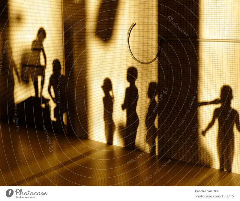 Human being Child Girl Joy Sports Boy (child) Playing Wait Swimming pool Stand Paving tiles Shadow play Emotions Evening sun High diving