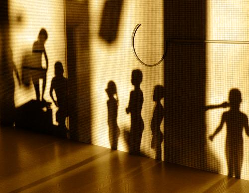 Shadow Theatre II Swimming pool Silhouette Child Light Paving tiles Evening sun Girl Playing High diving Shadow play Sports body shadow Human being
