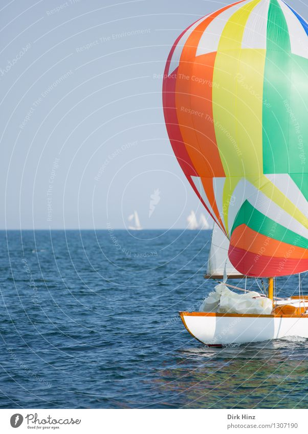 Colorful Baltic Sea bubble Sailing Yacht Blue Yellow Orange Relaxation Vacation & Travel Laboe Regatta Maritime Ocean Aquatics Sailboat Sailing yacht