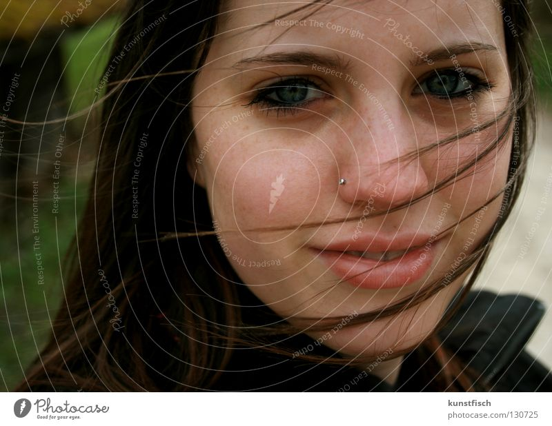 Woman Green Face Eyes Hair and hairstyles Laughter Air Moody Rain Wind Lips Gale Thunder and lightning Airy Strand of hair Mouth
