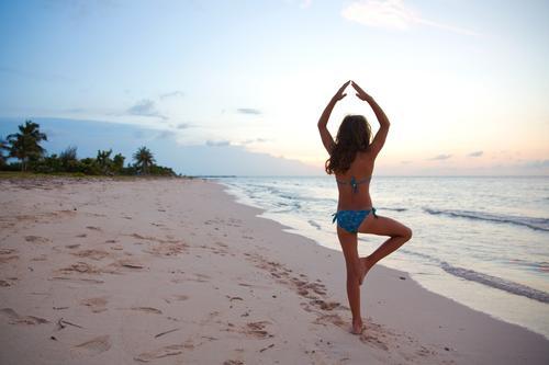 yoga Elegant Exotic Body Healthy Harmonious Senses Calm Meditation Summer Yoga Girl 1 Human being 8 - 13 years Child Infancy Sand Sky Sunrise Sunset Palm beach