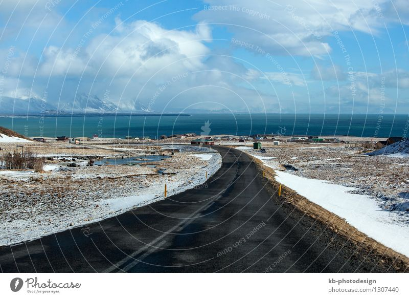 Vacation & Travel Ocean Clouds Far-off places Winter Tourism Wind Adventure Asphalt Iceland Road traffic