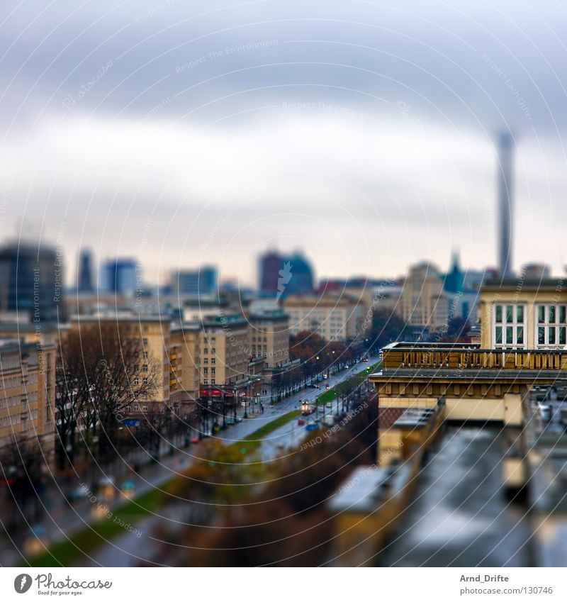Mini-Berlin Tilt-Shift Small Miniature Bird's-eye view Town Clouds House (Residential Structure) Wet Roof High-rise Berlin TV Tower Traffic infrastructure Sky