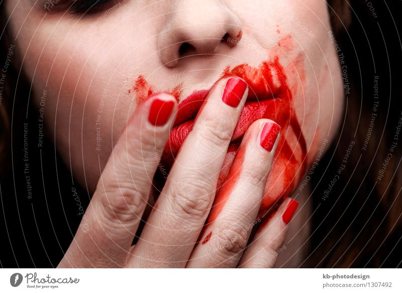 Woman Youth (Young adults) Young woman Hand Adults Mouth Appetite Disaster Hallowe'en Zombie Dental