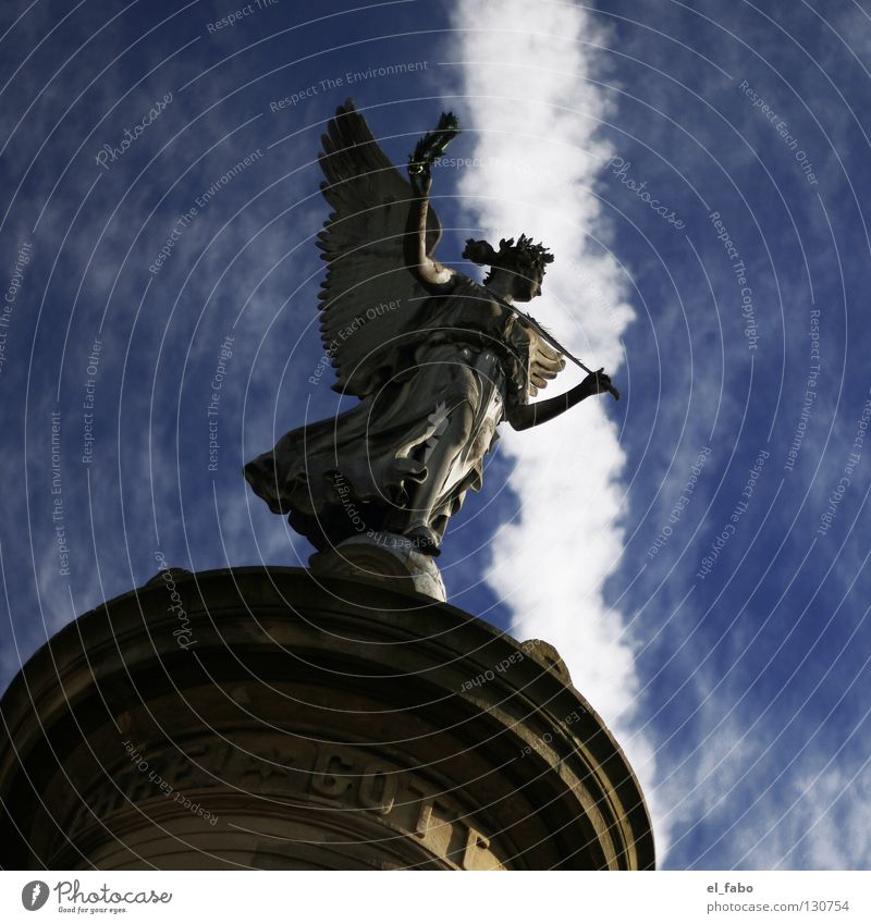 Sky Calm Clouds Death Air Flying Free Angel Peace Wing Statue Monument War God Marketplace Deities