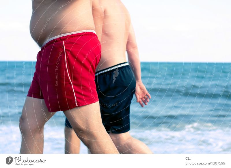 beach figures Overweight Vacation & Travel Tourism Summer Summer vacation Beach Ocean Swimming & Bathing Human being Masculine Adults Life 2 Water