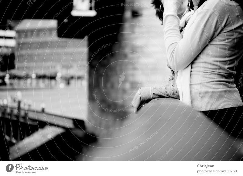 talk Promenade Stand To talk Gesture Woman Black & white photo Duesseldorf Rhine Handrail Human being Focal point