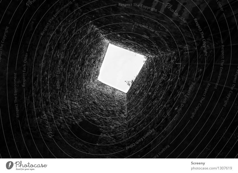 high up Castle Ruin Tower Dark Bright Tall Black White Building stone Wall (barrier) Shaft of light Calm Black & white photo Interior shot Deserted Day Shadow