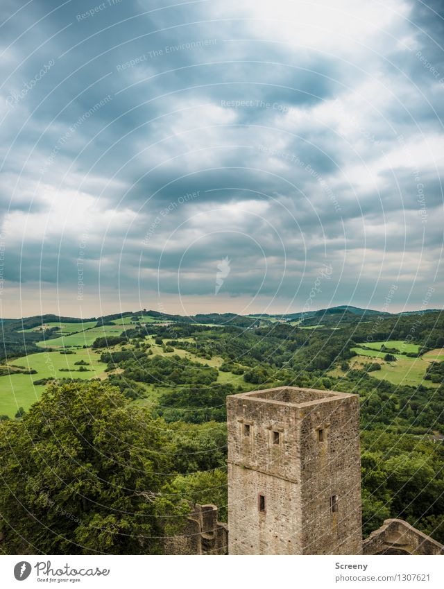 Over the Eifel... Nature Landscape Plant Sky Clouds Summer Weather Bad weather Tree Meadow Field Forest Castle Ruin Tall Far-off places Tower Wall (barrier)
