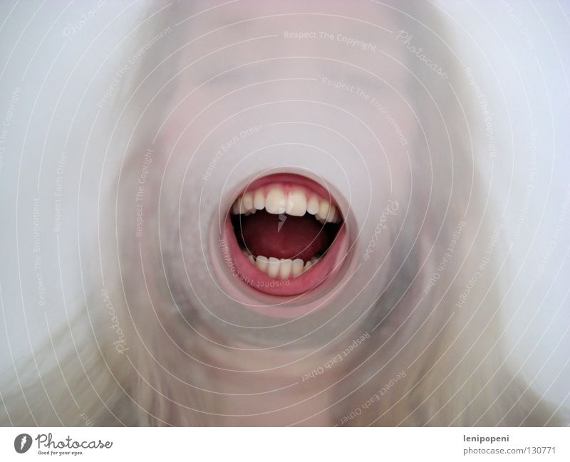 Look it up! Tunnel Direction Gum Round Portrait photograph Crazy Megaphone Loud Voice To talk Listening Loudspeaker Lips Red Communicate Mouth Glass Escape