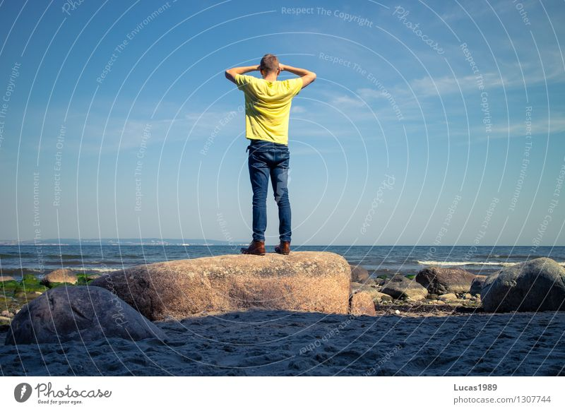Human being Vacation & Travel Youth (Young adults) Man Summer Sun Relaxation Ocean Young man Far-off places Beach 18 - 30 years Adults Emotions Freedom Masculine