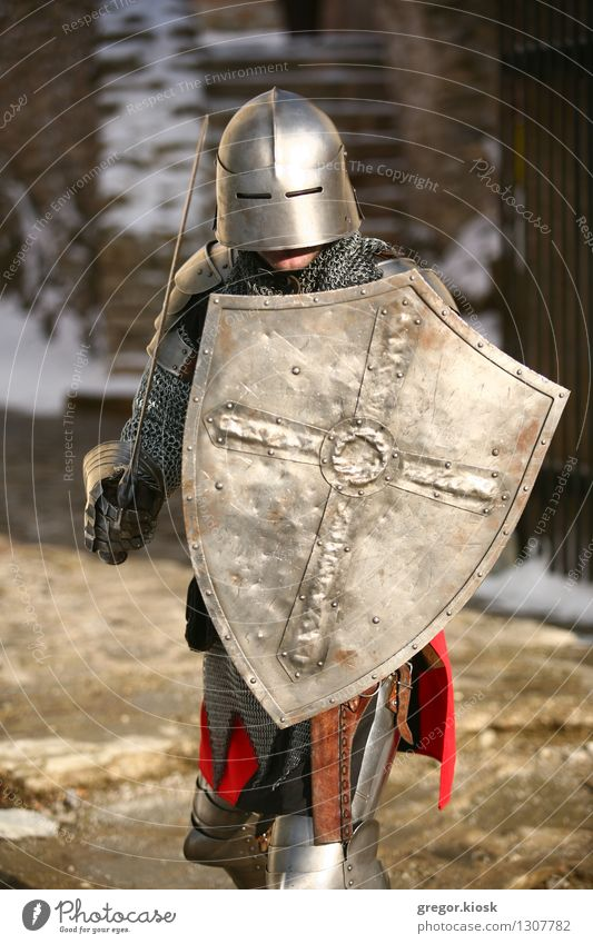 The Knight Winter Snow Feasts & Celebrations Carnival Fairs & Carnivals Man Adults 1 Human being 18 - 30 years Youth (Young adults) Warrior Ice Frost Garden