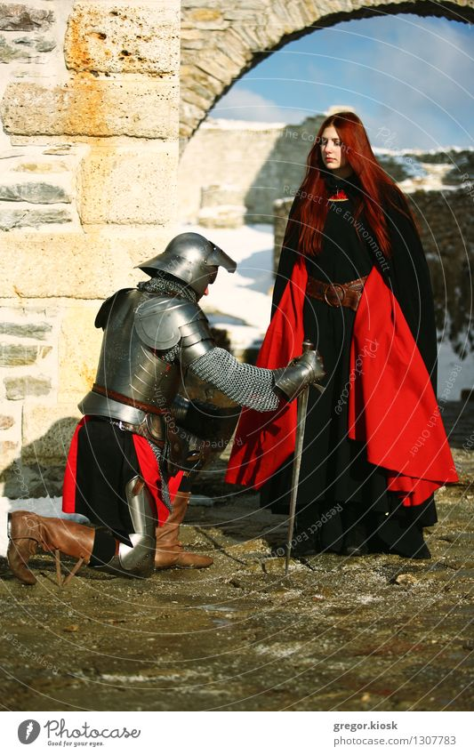 Lady and her Knight II Winter Young woman Youth (Young adults) Man Adults 2 Human being 18 - 30 years Warrior Princess Ice Frost Snow Old town Castle Ruin Gate