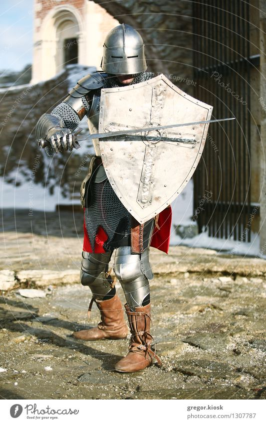 The Knight III Exotic Man Adults 1 Human being 18 - 30 years Youth (Young adults) Warrior Winter Ice Frost Snow Mountain Old town Castle Ruin Wall (barrier)